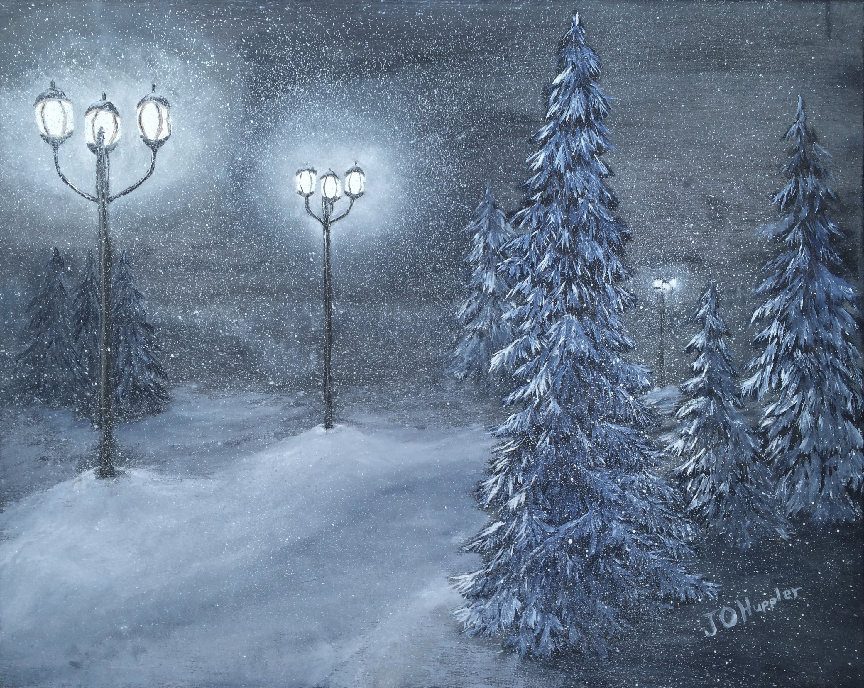 Street Light At Night Painting Winter Woodlands J O Huppler
