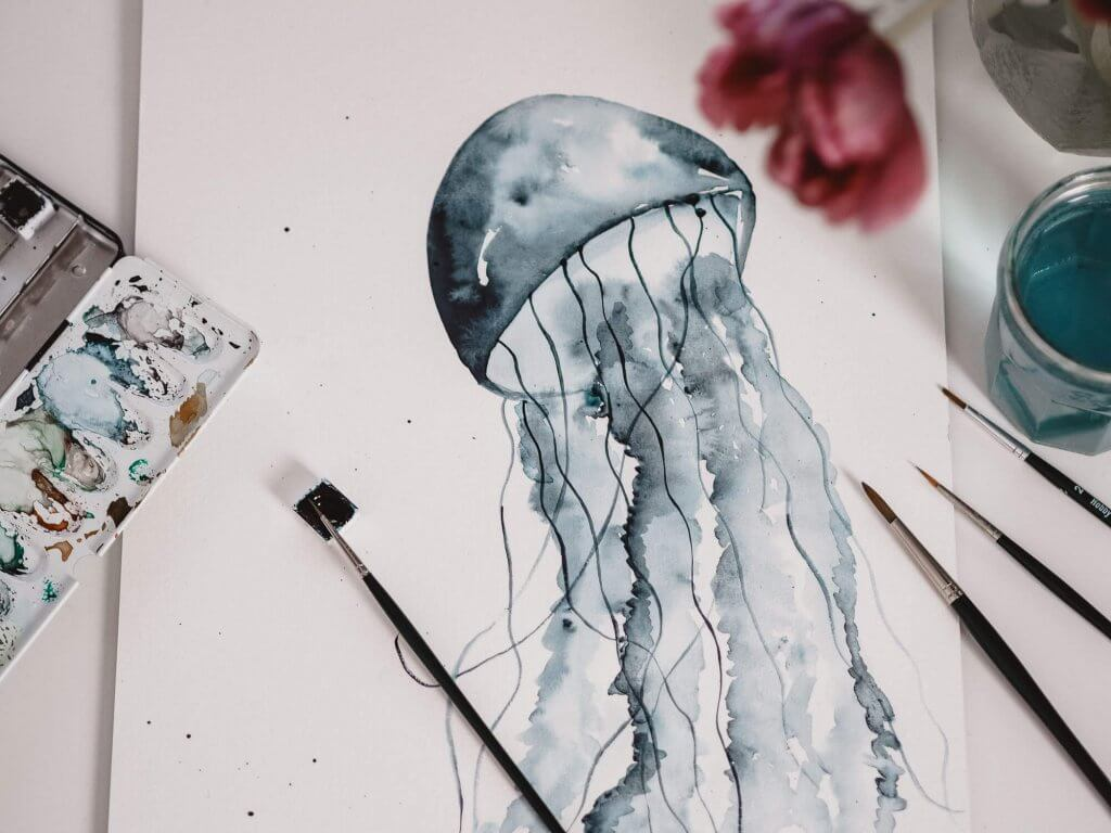 Malen Anfänger Tutorial Watercolor Jellyfish Aquarell Qualle Malen Für