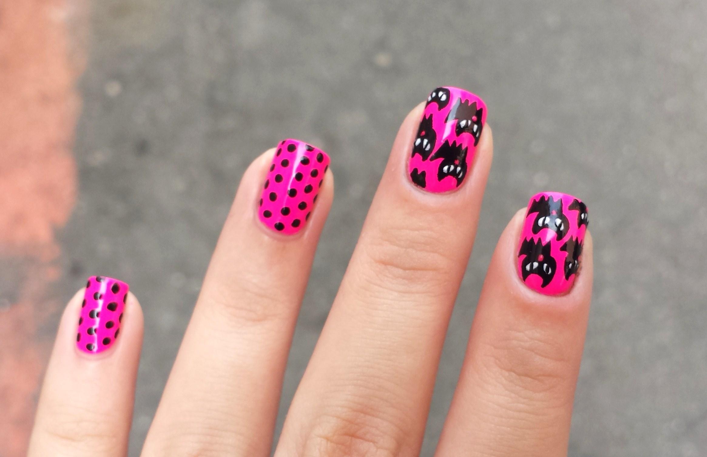 Comfortable Contemporary Neon Pink Nail Polish Designs Ornament Nail