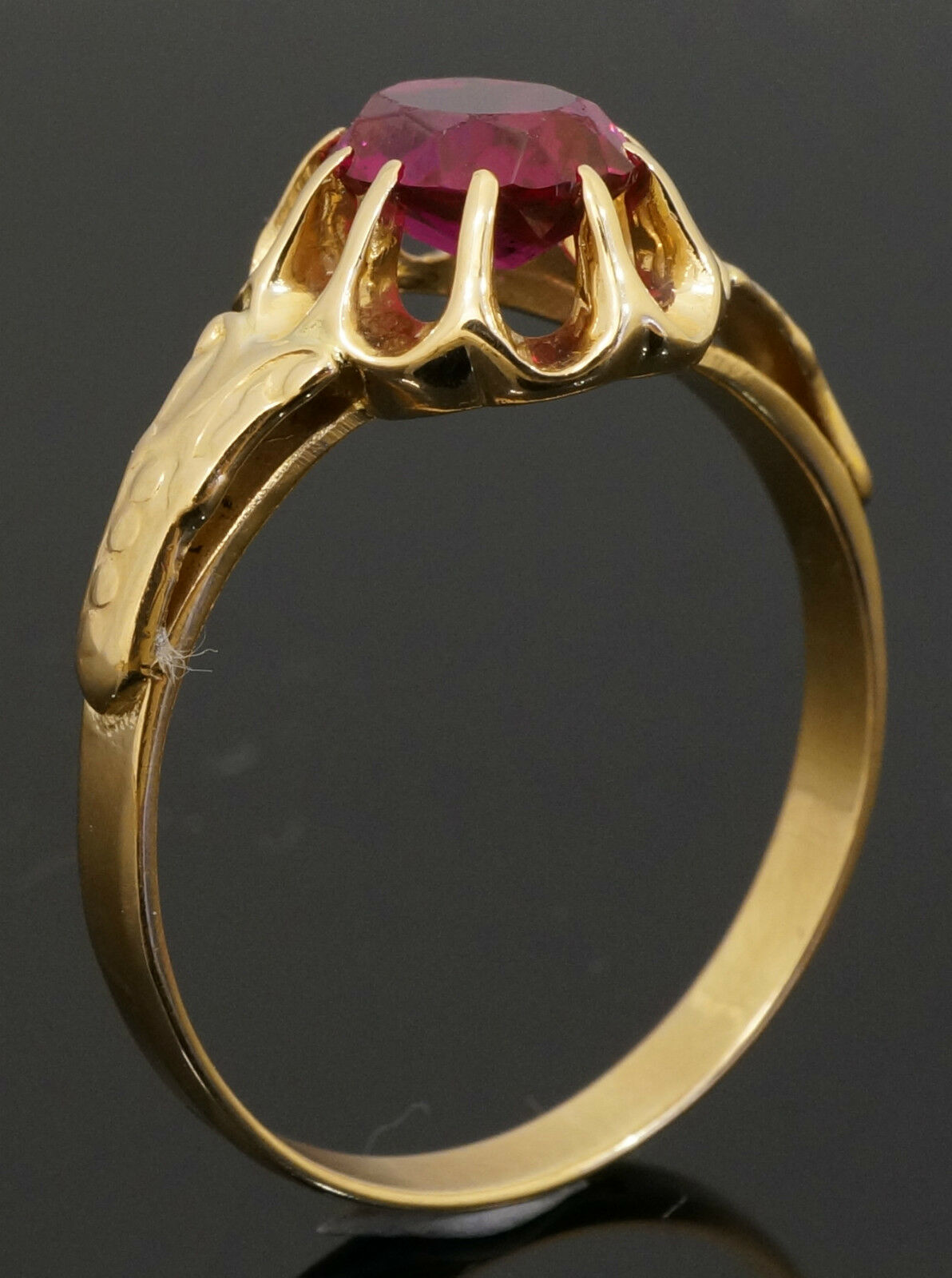 Gold S 14carat Rose Gold Synthetic Rubellite Solitaire Ring Size S