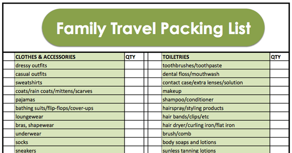 family vacation packing list