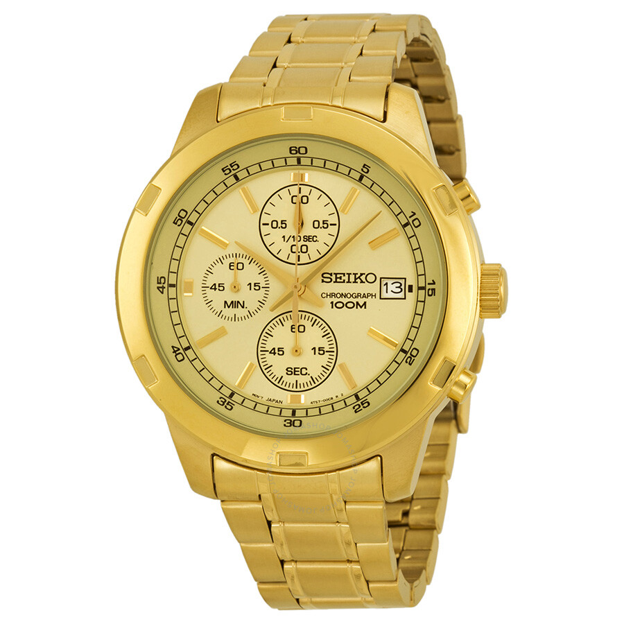 Gold Chronograph Seiko Chronograph Gold Dial Gold-tone Men's Watch Sks426
