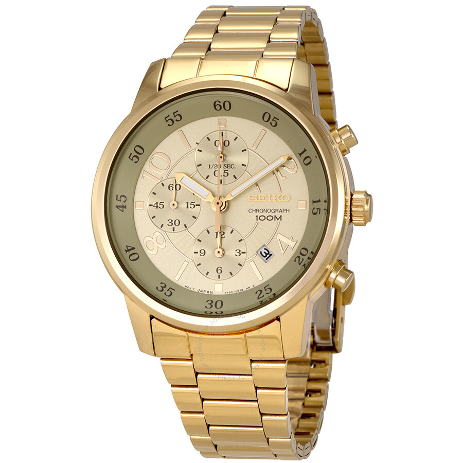 Gold Chronograph Seiko Chronograph Gold Dial Men's Watch Sndw84 - Seiko