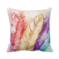 Colorful Watercolor Feathers Throw Pillow - Jomazzle
