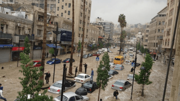 Downtown Amman during flood