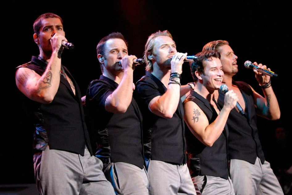 Boyzone, from left, Shane Lynch, Mikey Graham, Ronan Keating, Stephen Gately and Mikey Graham at Castle Howard, North Yorkshire.