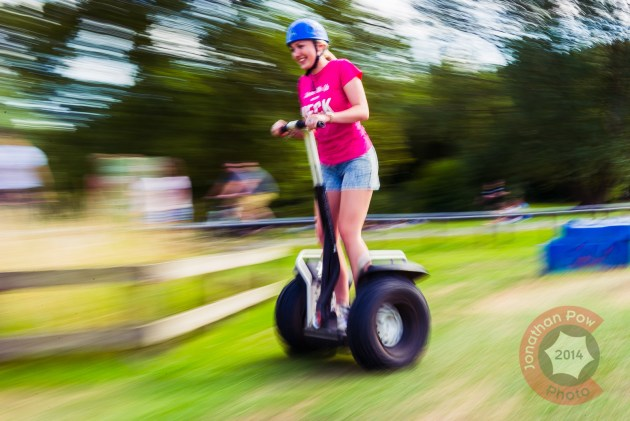 On of the Heck ladies taking time out on a Segway
