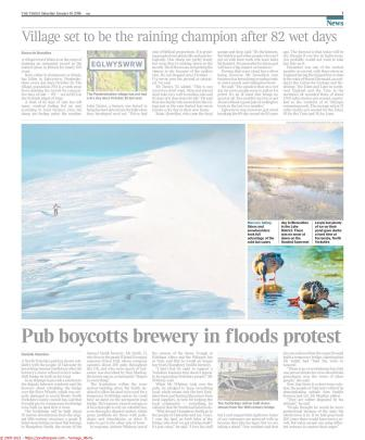 Photograph of Ducks on Icy Pond in The Times