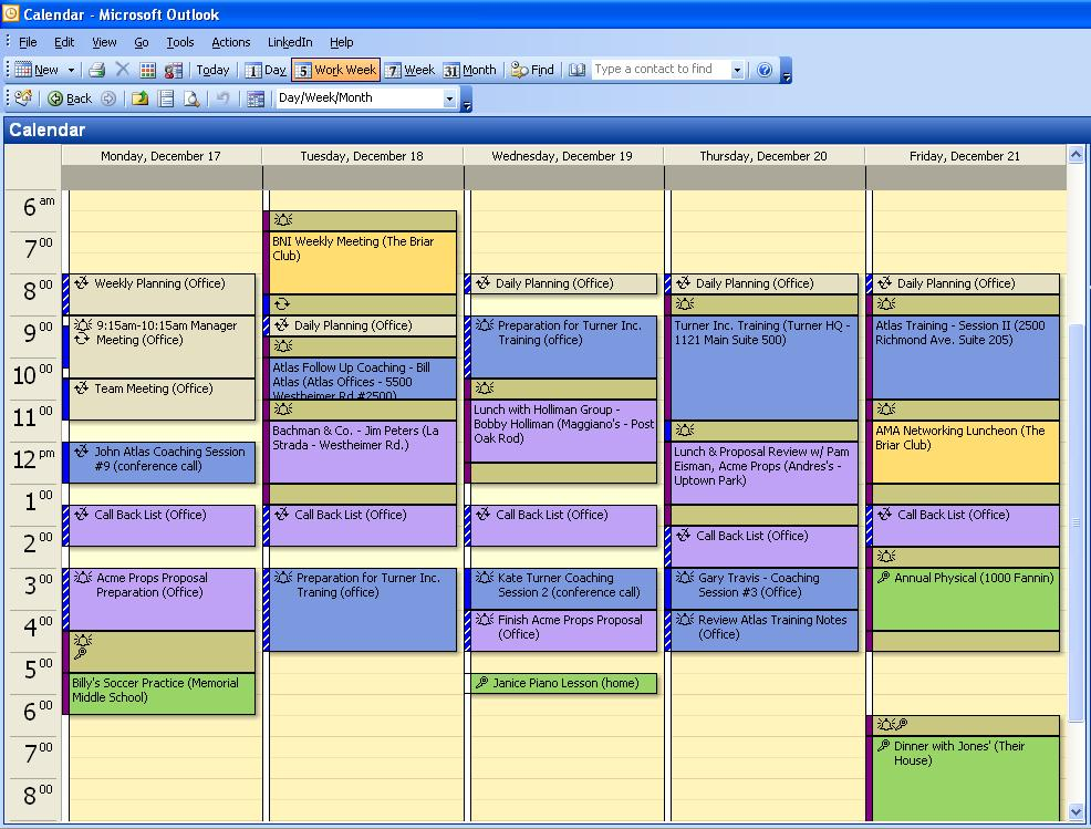 How to Organize Your Calendar - The Jonathan Rick Group - one week calendar template word