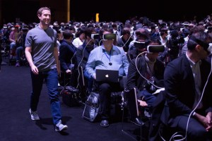 Zuckerberg and an audience wearing Samsung Gears (Facebook image)