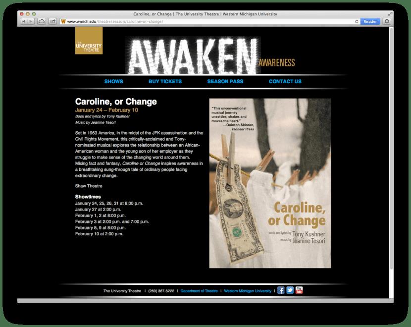 University Theatre Season website screenshot