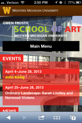 iPhone screenshot of Frostic School of Art website