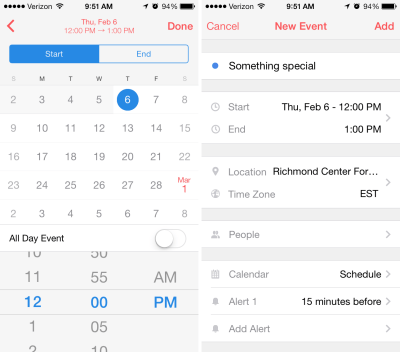 Sunrise calendar app screenshots for adding events