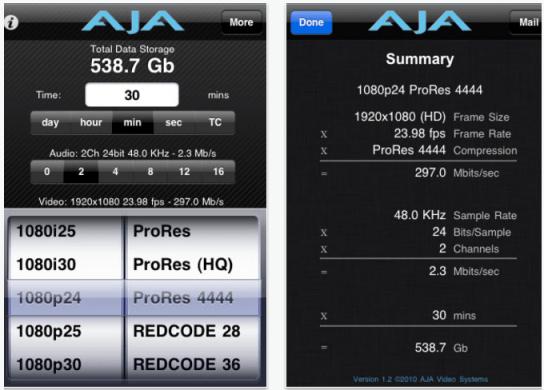 AJA data Calc Free App