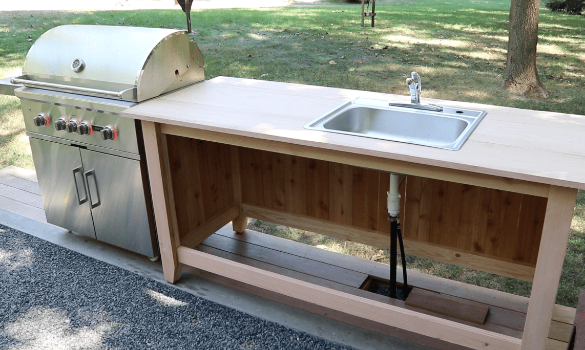 How To Build Outdoor Kitchen Cabinets Build An Outdoor Kitchen Cabinet & Countertop With Sink