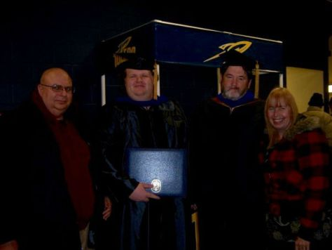 I finished my Bachelors degree in Psychology in 2004, my masters degree in 2007, and (pictured here) my doctorate in 2009. Here I am with my dad (on the left), and my mom on the right. The guy in the middle with me was my advisor in graduate school, Dr. Jasper. Advisors can become family - I still see mine regularly at conferences, and we catch up every other month or so via email.