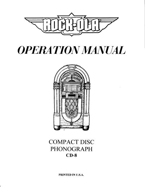 Seeburg CD Jukebox Operation  Service Manual - $995  Jordan - operation manual
