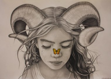 The Aries and the Butterfly by A little Piece of Art on Pinterest