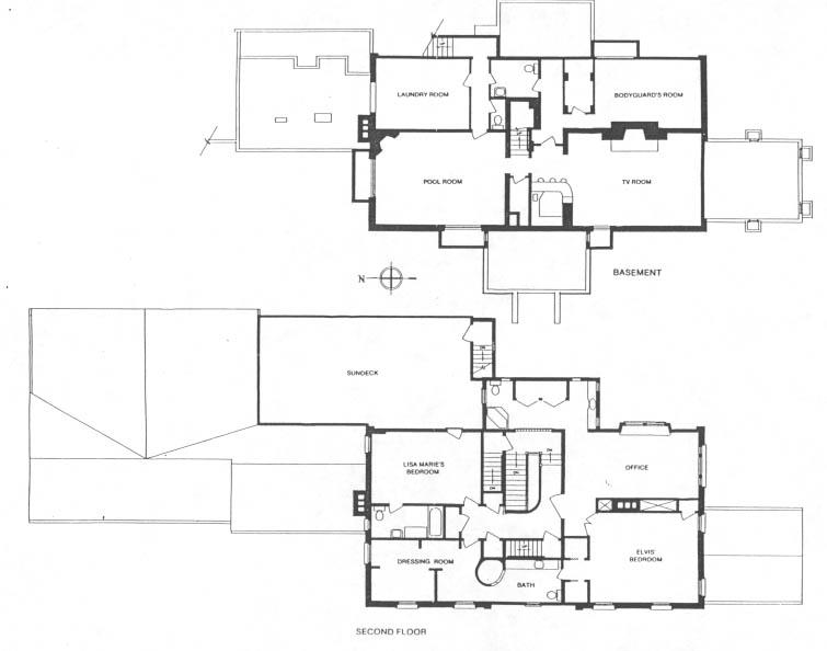Gracelandu0027s second floor and basement Elvis Presley Pinterest - plan d interieur de maison