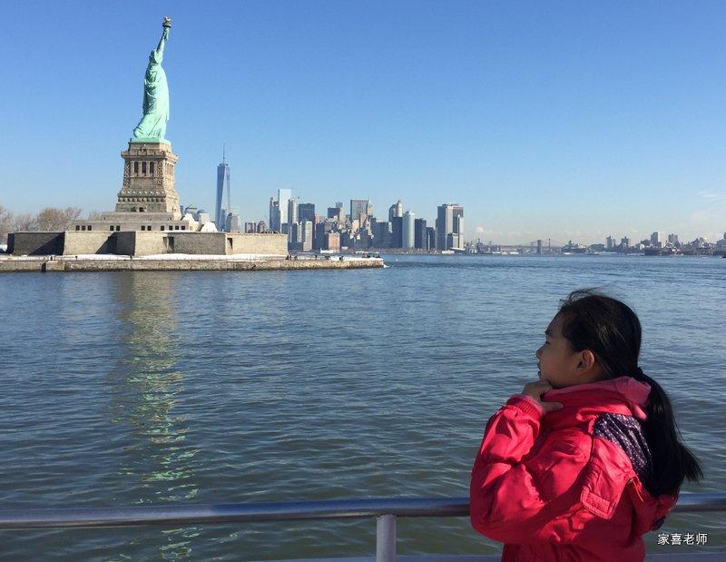 Anna Contemplates Lady Liberty