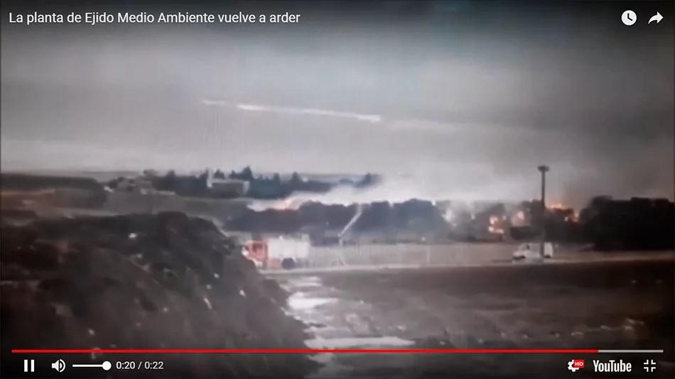 Vídeo incendio planta de Ejido Medio Ambiente.