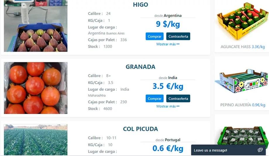 Aplicación para la compraventa online de frutas y hortalizas.