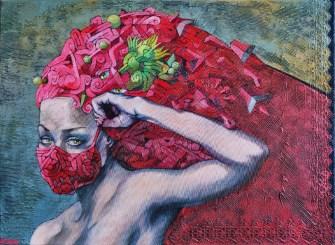 Josef Achrer Rudá rouška 77 cm x 56 cm