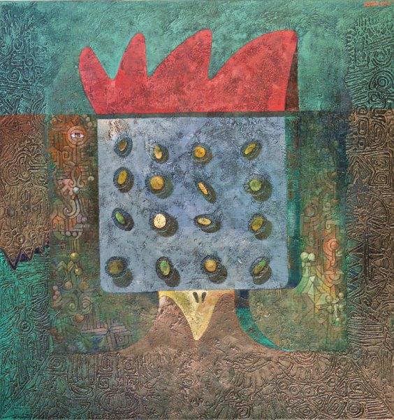 Josef Achrer Křik prvního kohoutka 112 cm x 117 cm