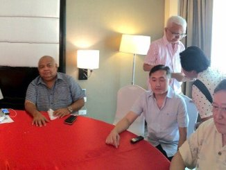 Duterte's transition team includes Peter Laviña, Atty. Salvador Medialdea, Christopher Go, Leoncio Evasco (standing) and Carlos Dominguez. Not in photo and absent is Atty. Lorieto Ata. PHOTO BY NICO ALCONABA/ INQUIRER MINDANAO