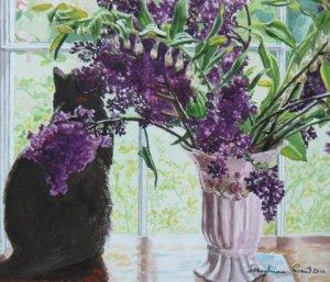 "Finzi with Lilac  watercolour 7"" x 10"""