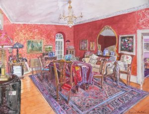 """The Red Room in Winter Light                watercolour 16"""" x 20"""""""
