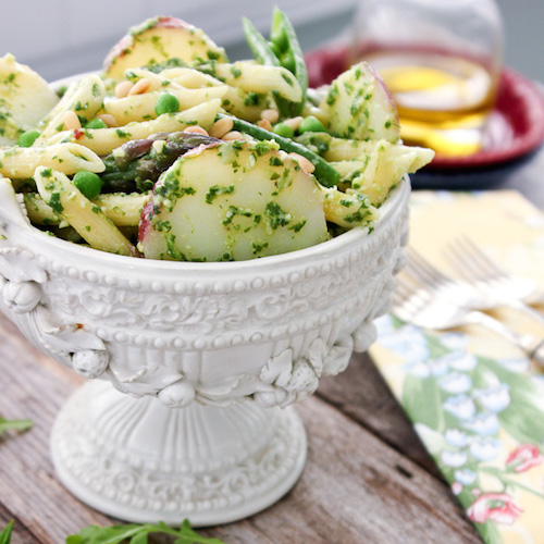 Penne with arugula pesto, potatoes and spring vegetables at She's ...