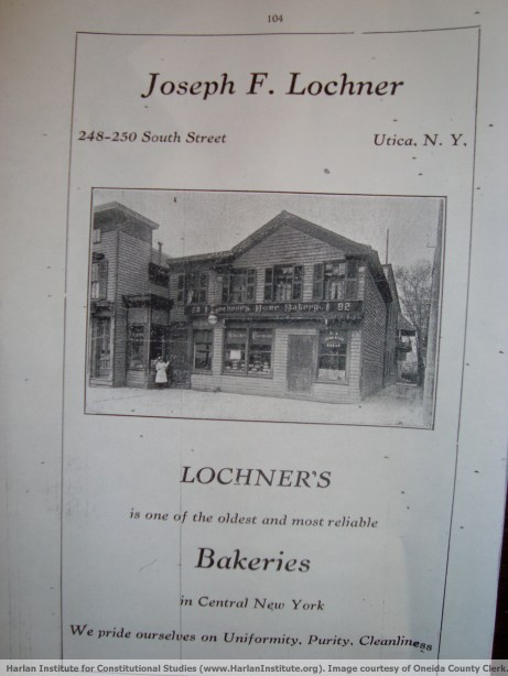 Advertisement for Lochner's Home Bakery - Harlan Institute for Constitutional Studies