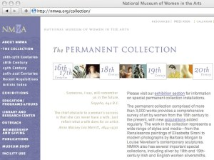 National Museum of Women in the Arts Washington Online collection web page