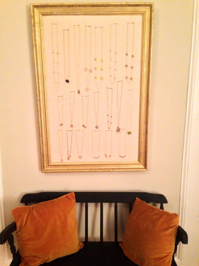 Handmade necklaces hanging on my DIY crafted Jewelry Frame
