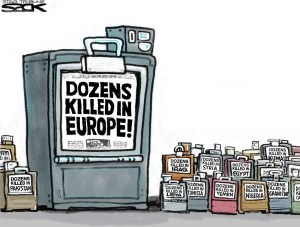 Steve Sack's cartoon for the Star Tribune in Minneapolis contrasts coverage of terrorist acts in Europe with those elsewhere.