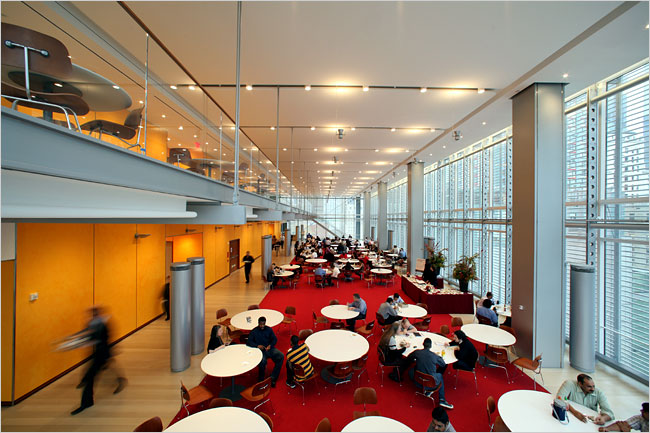 The New York Times 14th floor cafeteria. (Credit: Fred R. Conrad/New York Times)