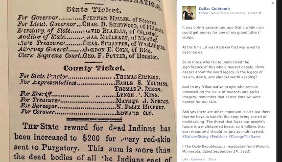 "A newspaper clipping from 1863 advertises, ""The State reward for dead Indians has been increased to $200 for every red-skin sent to Purgatory. This sum is more than the dead bodies of all the Indians east of the Red River are worth."" (Credit: Indian Country Today Media Network)"