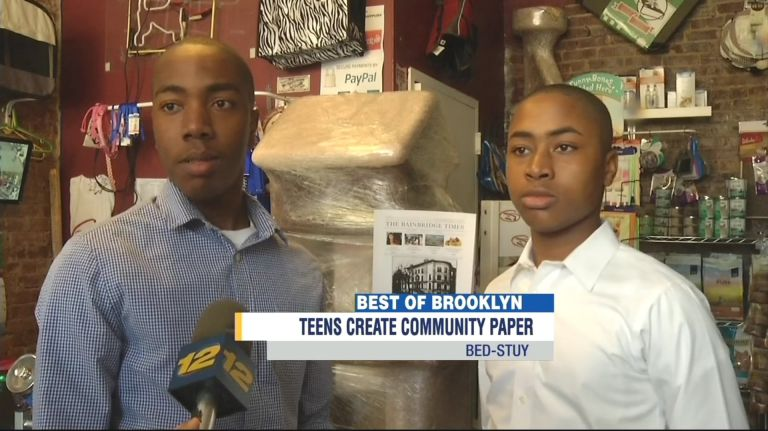 Editor in chief Rusty Fields, 17, and managing editor River Fields, 14, of the Bainbridge Times in Brooklyn, N.Y., plan to become neurosurgeons. (Credit BrooklynNews12.com)