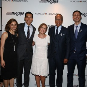 "Lester Holt, seond from right, was joined at NABJ's ""Journalist of the Year"" ceremony Tuesday by his wife, Carol Hagen,center, and sons Cameron, right, and Stefan, second from left, and Stefan's wife, Morgan, at left. (Credit: NBC News)"