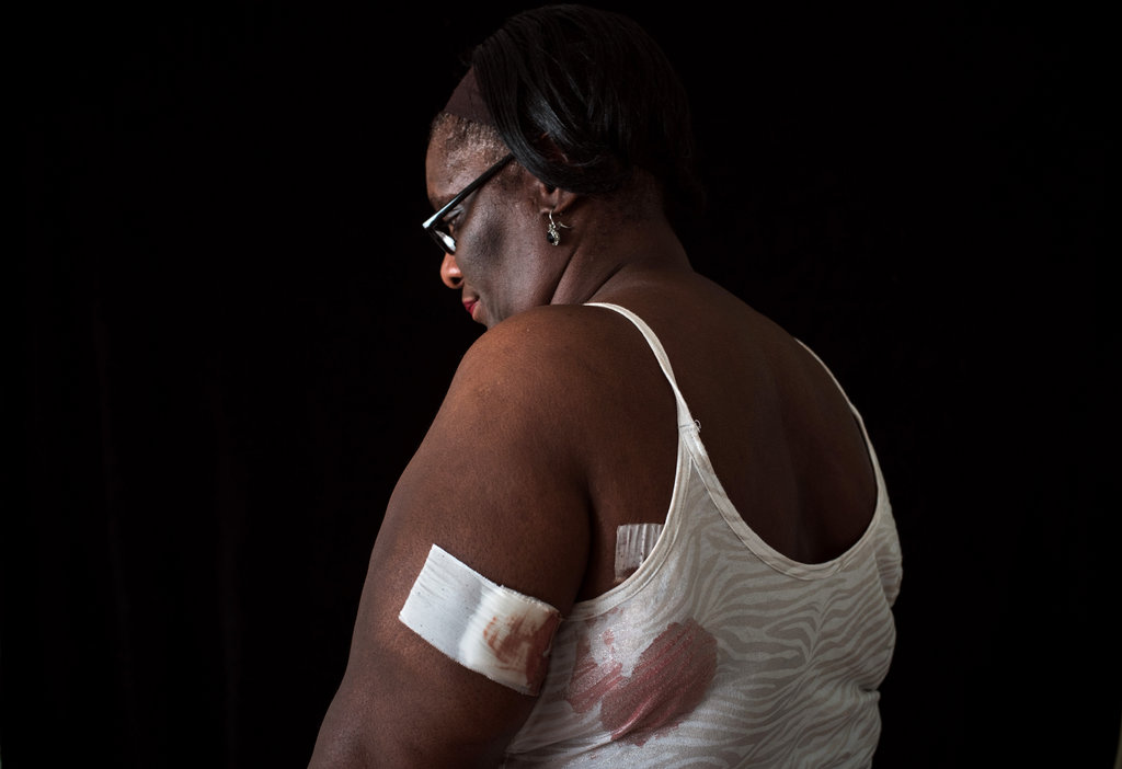 Julia Rhoden was sitting on her bed watching television when she was hit by one of six shots fired outside, the New York Times said. (Credit: Todd Heisler/New York Times)