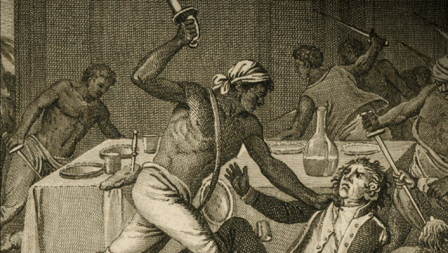 "This rendering of slave resistance, courtesy of the John Carter Brown Library at Brown University is the cover art for Gerald Horne's 2014 book, ""The Counter-Revolution of 1776: Slave Resistance and the Origins of the United States of America."""