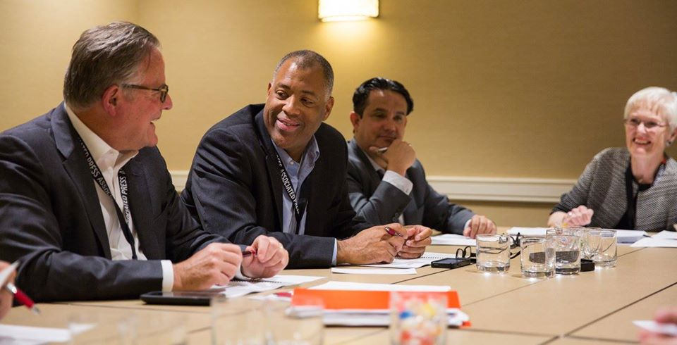 From left, Mizell Stewart III, Alfredo Carbajal and Charlotte Hall at board meeting last year of the American Society of News Editors. (Credit: American Society of News Editors)