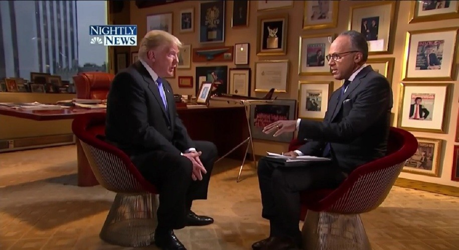Lester Holt interviews Donald J. Trump at the Trump Tower in May. (Credit: NBC News)