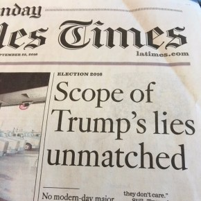 "The lead story in Sunday's Los Angeles Times. (Credit: CNN ""Reliable Sources"")"