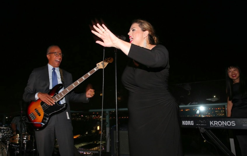 "Lester Holt plays bass with his band, the 30 Rockers, at the ""Dateline"" 25th anniversary party Tuesday on a Manhattan rooftop. (Credit: Jemal Countess/NBC)"