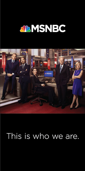 """This is who we are,"" reads the copy for an ad for MSNBC in the Daily Beast. The network came under fire earlier this year for a diminution of diversity in its on-air ranks."