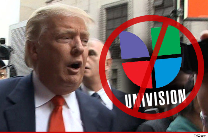 "TMZ created this graphic in 2015 after Univision pulled the plug on Donald Trump's Miss USA pageant and Trump said he would sue.the network for hundreds of millions of dollars. Trump wrote a letter to the president of Univision, saying ""Please be advised that under no circumstances is any officer or representative of Univision allowed to use TRUMP NATIONAL DORAL, MIAMI — its golf courses or any of its facilities."""