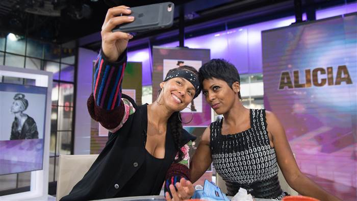 "Singer Alicia Keys, left, with Tamron Hall on ""Today,"" Sept. 1, 2016. (Credit: Nathan R. Congleton/Today)"