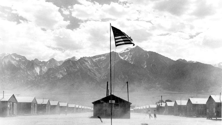 Manzanar Relocation Center, 300 miles from Los Angeles in the desert region of California, was the wartime home for scores of Japanese American families evacated from their homes. (Credit: L.A. Library):